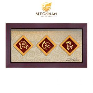 Mẫu tranh chữ phúc dát vàng quà tặng độc đáo